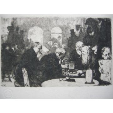 Wladimir Linde (1862-1940) Die Schachspieler Orig Radierung 1900