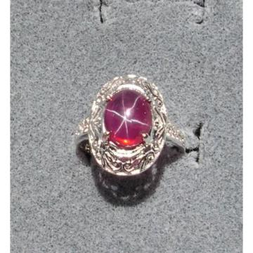 10x8mm 3+ CT LINDE LINDY TRNSPARNT RED STAR SAPPHIRE CREATED RUBY SECOND RING SS