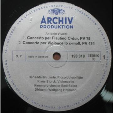 VIVALDI VIOLIN CONCERTO Linde , Storck , Lautenbacher , Hofmann  ARCHIV LP