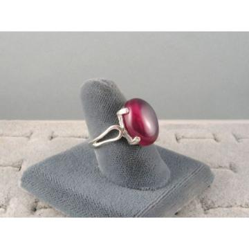 16X12MM 9+CT LINDE LINDY RED STAR SAPPHIRE CREATED SECOND QUALITY RING .925 SS