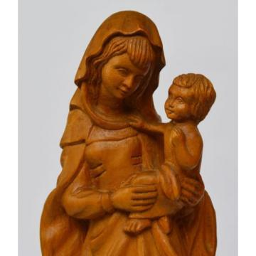 Skulptur Holz Linde handgeschnitzt Maria Muttergottes Madonna mit Kind H. 37 cm