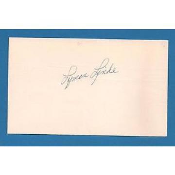 Lyman Linde d.1995  Cleveland Indians    Signed 3x5 Index Card