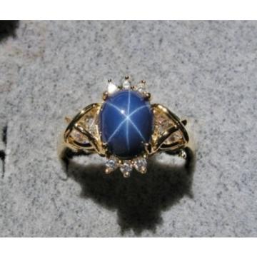 VINTAGE SIGNED LINDE LINDY CF BLUE STAR SAPPHIRE CREATED CAP HRT RING YGP.925 SS