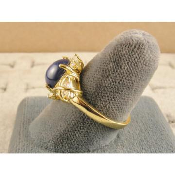 VINTAGE LINDE LINDY CF BLUE STAR SAPPHIRE CREATED CAPT HEART RING YGLDPL .925 SS