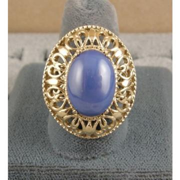 LINDE LINDY CF BLUE STAR SAPPHIRE CREATED 2ND YELLOW GOLD ION PLT STAINLESS RING