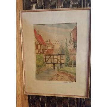 Original German Artist ERWIN LINDE 1959 Watercolor art in original frame.