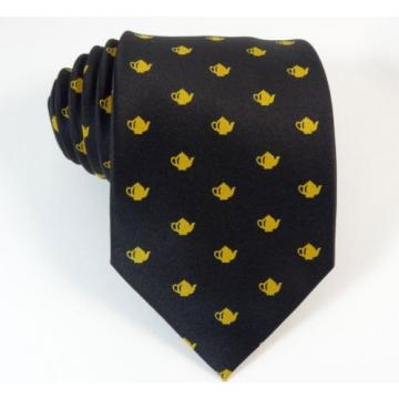 Teapot Tie Linde Lane Black Gold Coffee Shop Waiter Necktie