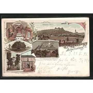Lithographie Augustusburg, Schloss-Linde, Schloßhof, Speisesaal mit Kamin 1898