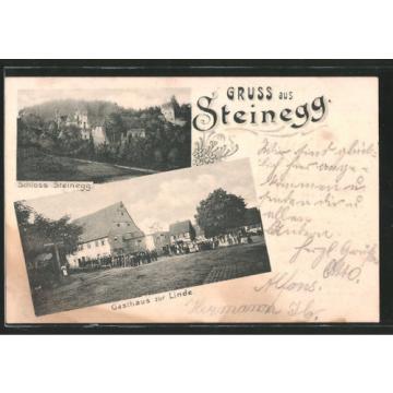 schöne AK Steinegg, Schloss, Gasthaus zur Linde 1904