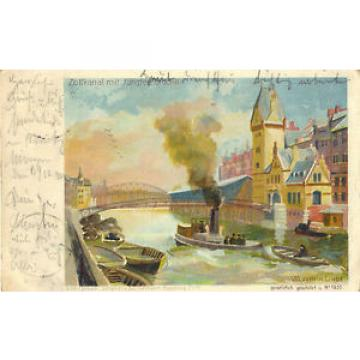 Hamburg, Zollkanal mit Jungfern-Brücke, Künstlerkarte Wladimir Linde