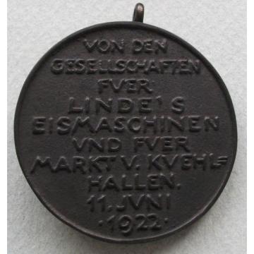 GERMANY MEDAL KARL LINDE 1922 44MM, 45G    *mc 315
