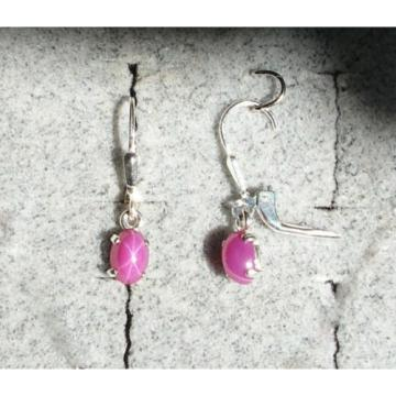VINTAGE LINDE LINDY PINK STAR RUBY CREATED SAPPHIRE LEVER BACK EARRINGS .925 SS