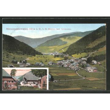 alte AK Menzenschwand, Gasthaus zur Linde, Ortspanorama