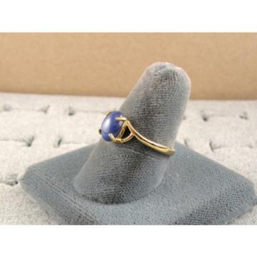 VINTAGE LINDE LINDY CORNFLOWER BLUE STAR SAPPHIRE CREATED RING  YG PLATE .925 SS