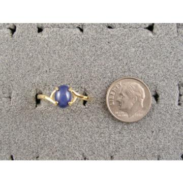 SIGNED VINTAGE LINDE LINDY CRNFLWER BLUE STAR SAPPHIRE CREATED RING YGP .925 SS
