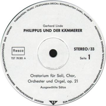 LINDE Philippus und der Kammerer (Oratorio) GROSCHKE Soprano SELL Alto Low SHIP