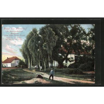 AK Wernsdorf, Partie an der Kirche mit 400-jähriger Linde, Gasthaus zum Oder-Sp