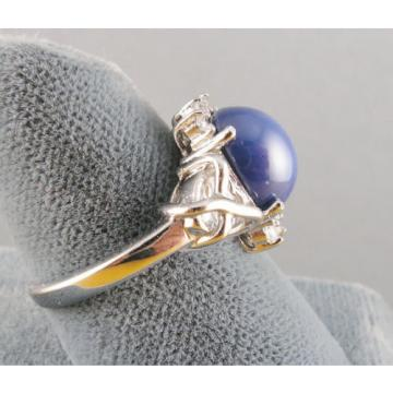 VINTAGE SIGNED LINDE LINDY CF BLUE STAR SAPPHIRE CREATED C H RING RD PLT .925 SS