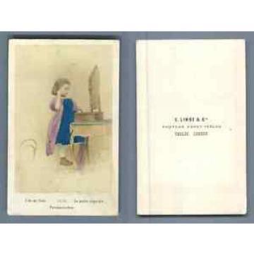 E. Linde & Co. La petite coquette  CDV vintage albumen.  Tirage albuminé aquar