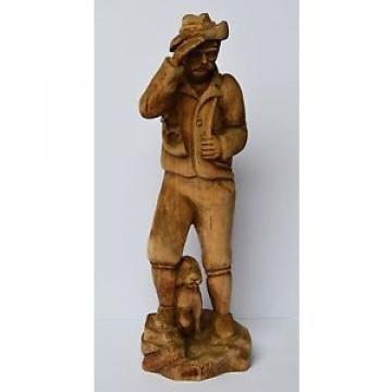 Holz Skulptur Holzfigur handgeschnitzt Linde Jäger mit Jagdhund Hund Höhe 56 cm