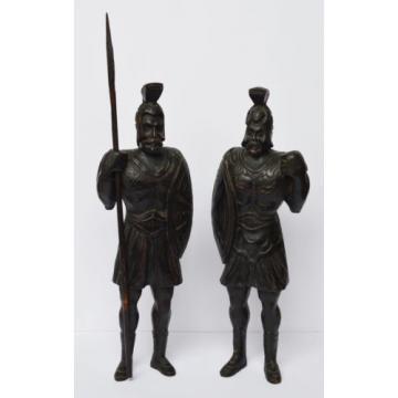Paar Holz Skulpturen Linde geschnitzt Krieger Wächter Historismus 1870, 50cm