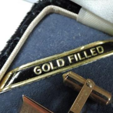 NOS Antique Destino Cats Eye Linde Star 12k Yellow Gold GF Cuff Links w Box Z500