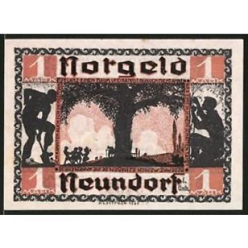 Notgeld Neundorf in Anhalt 1921, 1 Mark, Kinder tanzen bei der alten Linde