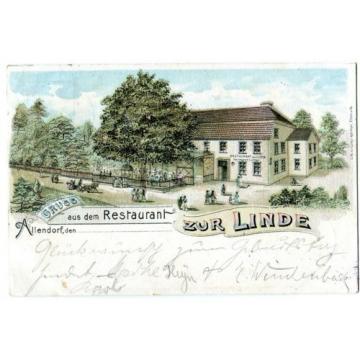 Ak Gruß aus Allendorf an der Werra Restaurant zur Linde Bad Sooden Litho 1908
