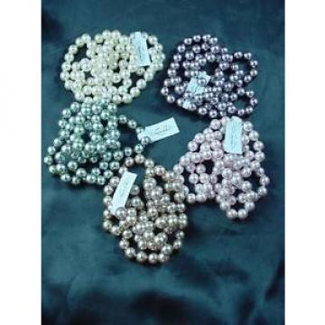 """5 Strand Linde Der 34"""" Faux Pearls Lot Lustrous Knotted Pink Cream Green #1595"""