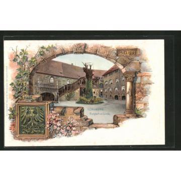 alte Passepartout-Lithographie Nürnberg, Burghof mit Linde, Stadtwappen