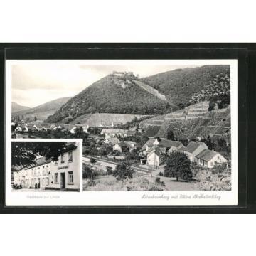 schöne AK Altenbamberg, Ortsansicht mit Ruine und Gasthaus zur Linde