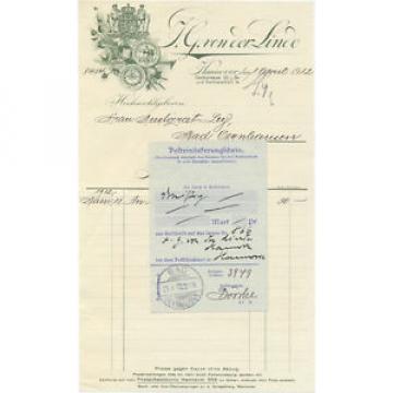 Hannover alte Rechnung J.G. von der Linde 1912 dekorativ