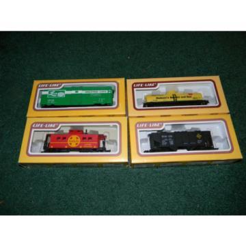 HO scale 4 car Life Like Lot Linde Box Hudson Tanker Santa Fe caboose Erie Hoppr