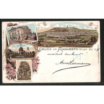 Lithographie Annaberg, Panorama, Stadttheater, Adam Ries Denkmal und alte Linde