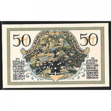 Notgeld Zeulenroda 1921, 50 Pfennig, alte Linde, Wappen
