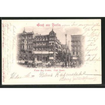 tolle AK Berlin, Unter den Linde, Café Bauer, Pferdefuhrwerke 1897