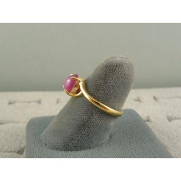 VINTAGE LINDE LINDY HOT FUCHSIA STAR SAPPHIRE CREATED BYPASS RING YLGPLT .925 SS