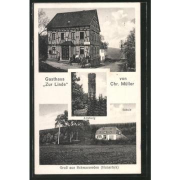 AK Schwarzerden, Gasthaus Zur Linde von Chr. Müller, Schule, Alteburg 1939