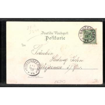 tolle Lithographie Grossörner, Ortsansicht, Gasthof zur Linde 1898
