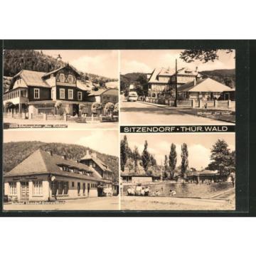 AK Sitzendorf, FDGB-Erholungsheim Max Kirchner, HO-Hotel Zur Linde, Bahnhof Sit