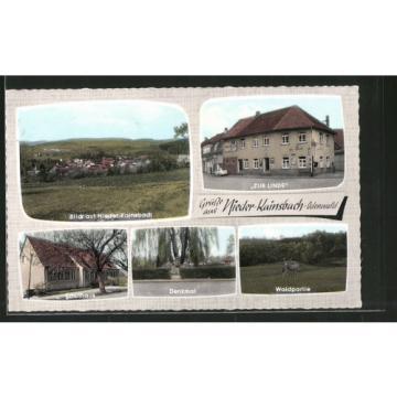 AK Nieder-Kainsbach, Gasthaus Zur Linde, Blick auf den Ort, Schulhaus, Denkmal,