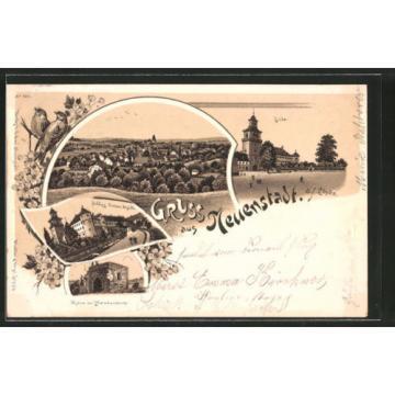 Lithographie Neuenstadt, Partie an der Linde, Ruine der Helmbundkirche, Schloß,