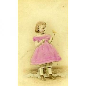 Young Girl & Small Bird Berlin Germany Old CDV Linde Photo 1870