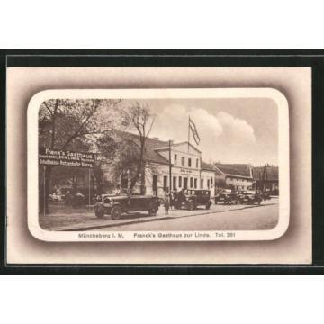 tolle AK Müncheberg, Autos vor Franck´s Gasthaus zur Linde 1930
