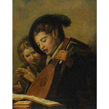 Signiert J. v. d. Linde Jr. - Musizierende Kinder  Art des Rembrandt  od. Hals ?