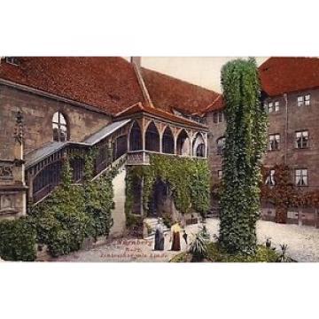 AK Nürnberg Burg Schlosshof mit Linde ( 1913 )