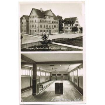 Tübingen Gatshof und Pension zur Linde 2 Bild: Kegelbahn Foto Ansichtskarte 1932