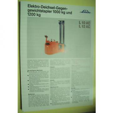 Sales Brochure Original Prospekt Linde Elektro-Deichsel-Gegen-Gewichtsstapler
