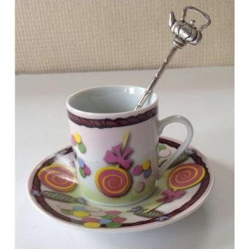 "Linde Lane ""Mareah"" Espresso Cup & Saucer With Spoon ~ Candy Motif ~ Excellent"