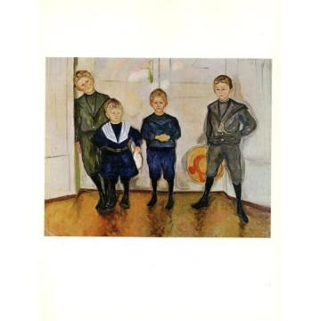 "1970 Vintage MUNCH ""FOUR SONS OF MAX LINDE"" COLOR offset Lithograph"